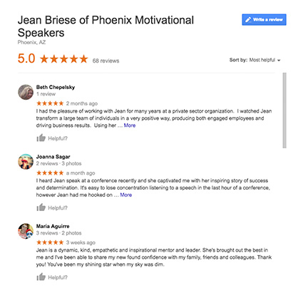 Jean Briese Google Reviews